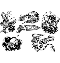 Octopus Squid Group vector image