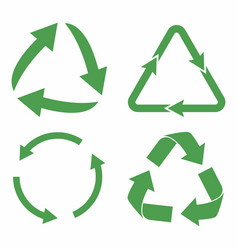 recycle icon set green eco cycle arrows recycle vector image vector image