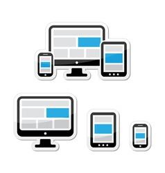 Responsive design for web - computer screen vector image vector image