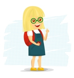 Schoolgirl with backpack vector image vector image