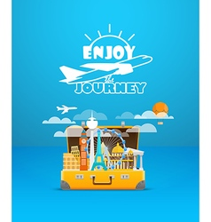 Travel bag Vacation design template Enjoy vector image vector image