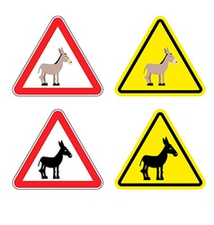 Warning sign attention donkey Dangers yellow sign vector image
