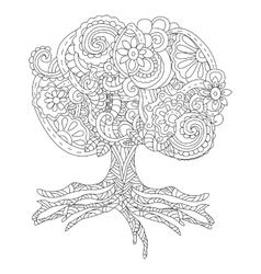a fluffy big tree tattoo vector image vector image