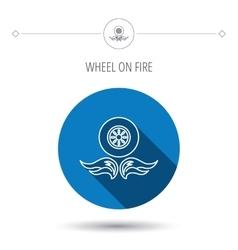 Car wheel icon Fire flame symbol vector image