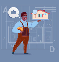 cartoon african american builder holding small vector image