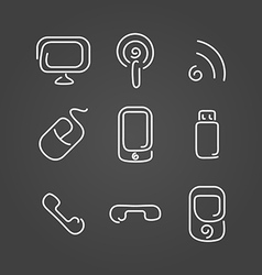 Electronics and mobile set icons draw effect vector image