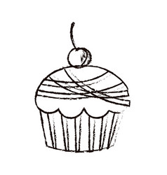 figure muffin with cherry icon vector image