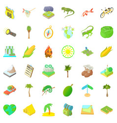 rest in forest icons set cartoon style vector image