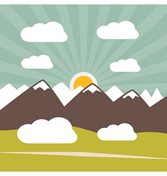 Retro Flat Design Nature Landscape with Sun Hills vector image vector image