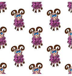 seamless pattern with cute sheep vector image