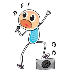 A sketch of a boy with a microphone and a speaker vector image vector image