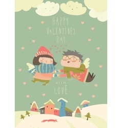 Cute couple of angels flying above the houses vector image