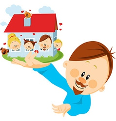 man with house vector image