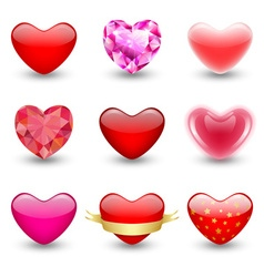 Set of geometric icons hearts vector image vector image
