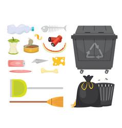 trash and garbage set in cartoon vector image