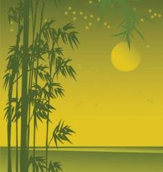 asian sunset view with bamboo vector image