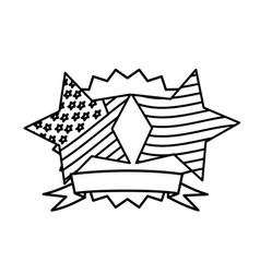figure emblem and stars independence day icon vector image