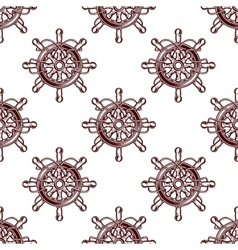 Seamless pattern of an old-fashioned ships wheel vector image