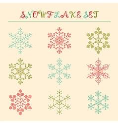 Snowflake icon set Vintage outline version vector image