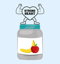 strong heart fitness food healthy vector image