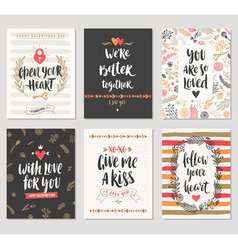 Valentines day hand drawn greeting card set vector image