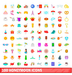 100 honeymoon icons set cartoon style vector