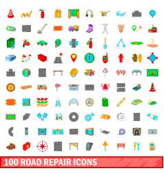 100 road repair icons set cartoon style vector