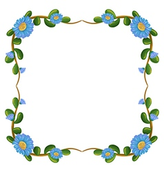 A border design with blue flowers vector image