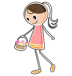 A sketch of a girl holding a basket vector image