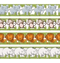 african animals seamless borders vector image