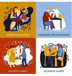 alcohol addiction concept icons set vector image