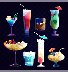 alcohol cocktails and tropical juice beverage vector image