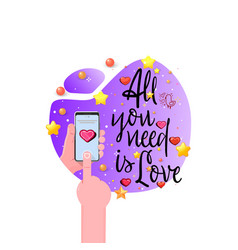 all you need is love romantic slogan for a t vector image