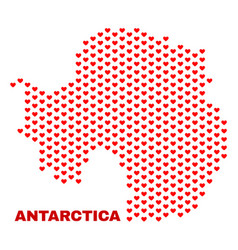 Antarctica continent map - mosaic of heart hearts vector
