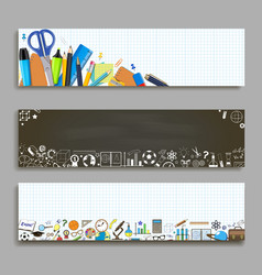 back to school horizontal banner template vector image