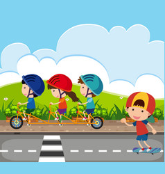 background scene with kids riding bike on road vector image