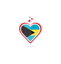 bahamas country flag inside love heart creative vector image
