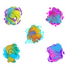 Betta fish set collection mascot logo design vector