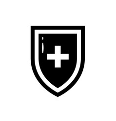 black icon medical shield in flat style vector image