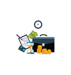 businessman accessories hourglass briefcase vector image