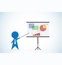 businessman with pointer stick and presentation vector image