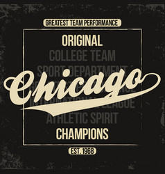 Chicago sportswear emblem athletic university vector