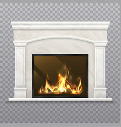 chimney or fireplace with burning wood vector image