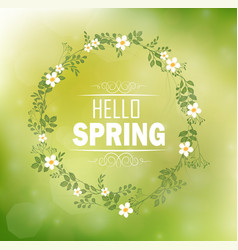 circle floral frame with text hello spring vector image