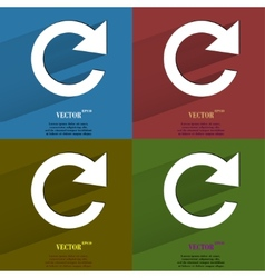 Color set arrow Update Flat modern web button with vector image