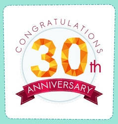 Colorful polygonal anniversary logo 3 030 vector