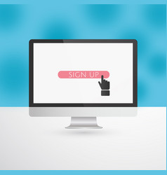computer monitor with pink sign up button and hand vector image