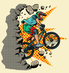 Cyclist extreme sports wall breaks vector