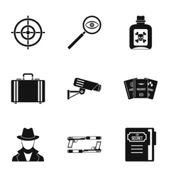 Detective icons set simple style vector