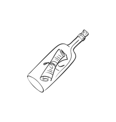 doodle bottle with a note vector image